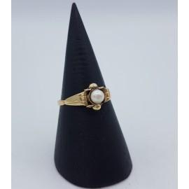 14k guldring m. perle, str....
